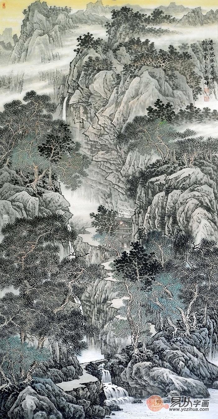 国画名家林德坤竖幅写意山水画艺术 仁者乐山 智者乐水图片