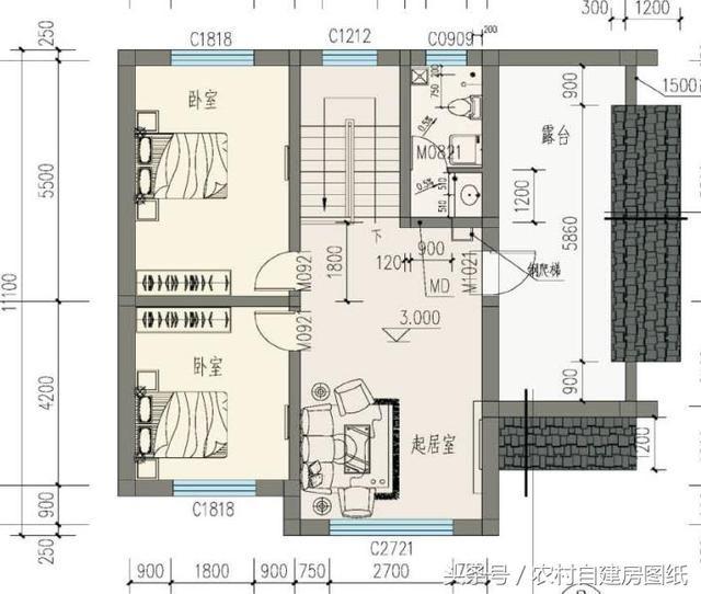 20萬帶庭院的農村房屋設計圖,5套方案,2款帶火炕