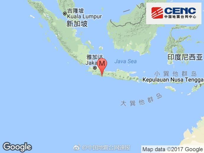 印尼爪哇岛发生6.7级地震 首都雅加达有明显震感