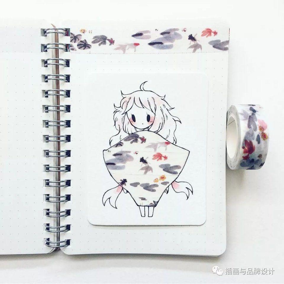 超可爱纸胶带简笔画少女,一起来看看