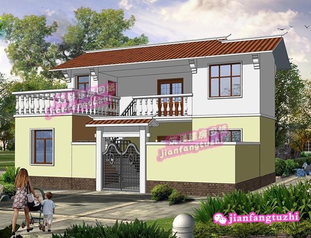60平方米3房3厅简约二层农村自建房设计图纸(外楼梯设计)图片