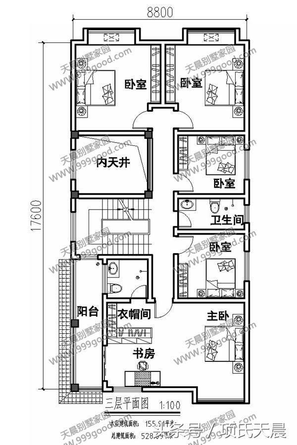 三层别墅设计图:内天井,5间卧室,衣帽间,书房,阳台,卫生间.