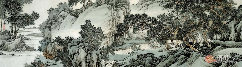 巨型横幅国画山水大�_林德坤最新力作横幅国画山水精品《松风雅居》