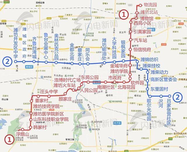 线网规划由6条线路组成,其中1,2,3,4号线为市区线,r1,r2线为市域线,全