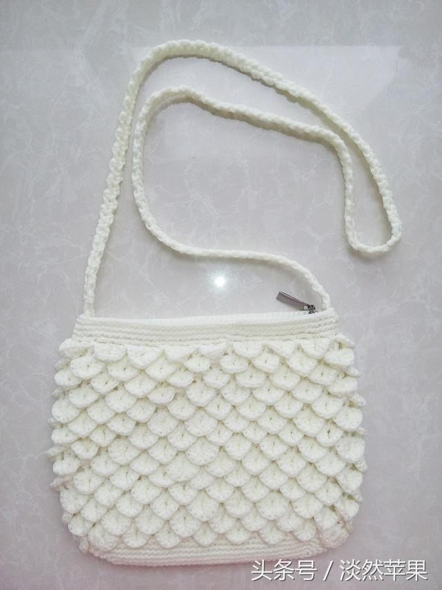 纯手工钩针编织鱼鳞花包包~厚实且极富有强立体感