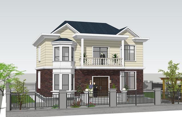 △东南侧效果图 二层起居室连通的阳台成为入户位置雨棚,自然的设计