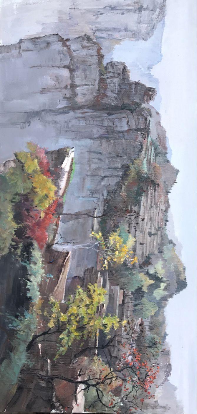 籍画家,教授范明亮先生太行大峡谷油画风景写
