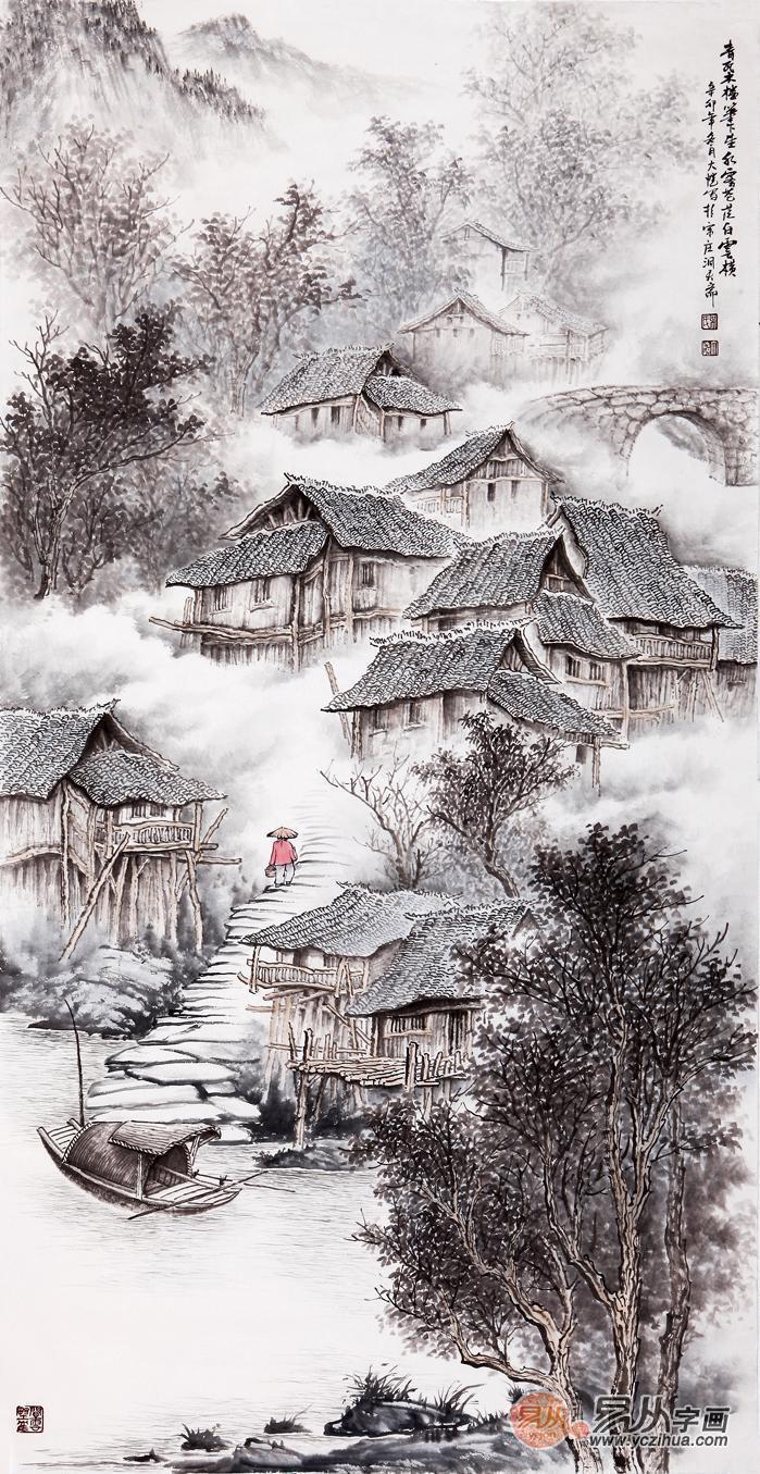 吴大恺山水画真迹:吴大恺四尺竖幅山水画作品《青瓦木楼笔下生》