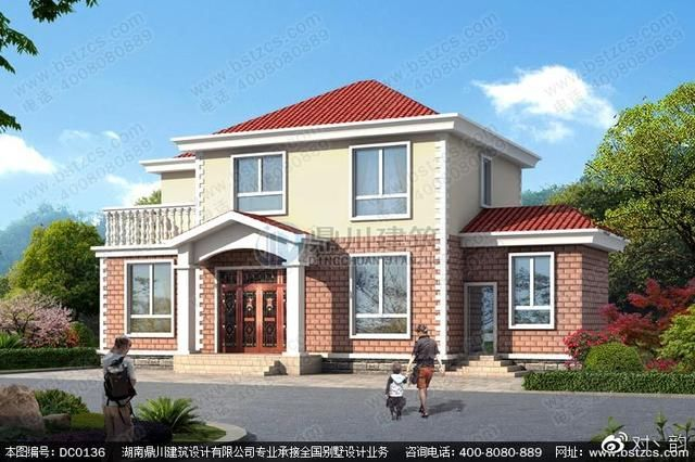 本款图纸为二层农村自建房屋设计效果图及施工图.