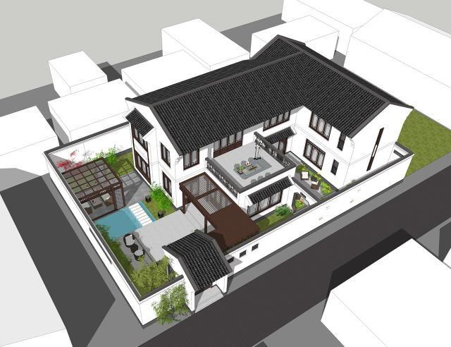 广州佛山新中式别墅,盖别墅就该盖这样的,造价43万占地400多平图片