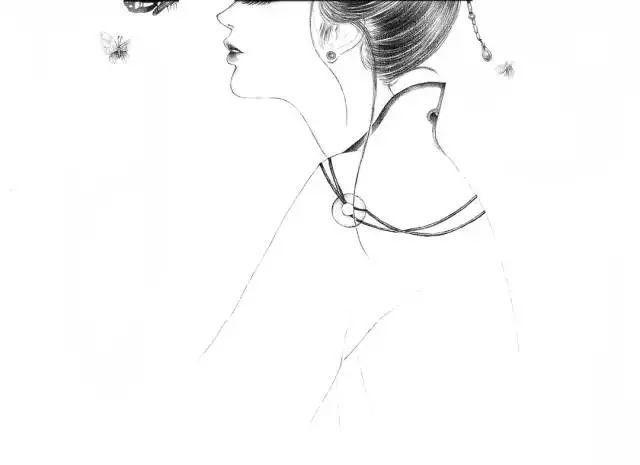 手绘水彩古风女子忧郁的古代女子