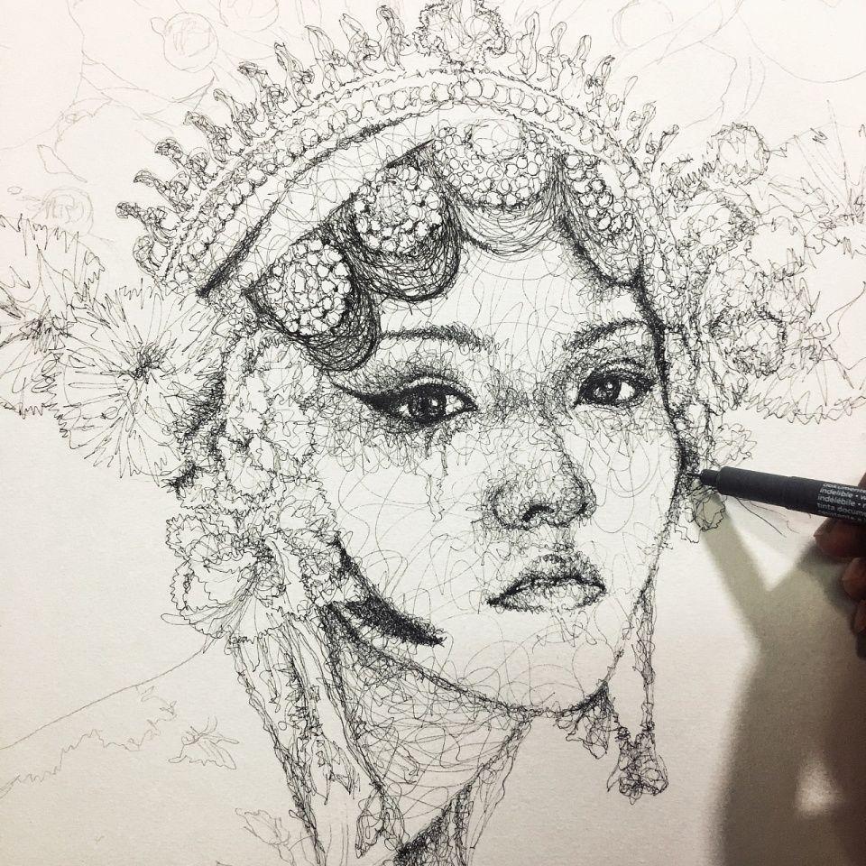 中国风手绘花旦简笔画