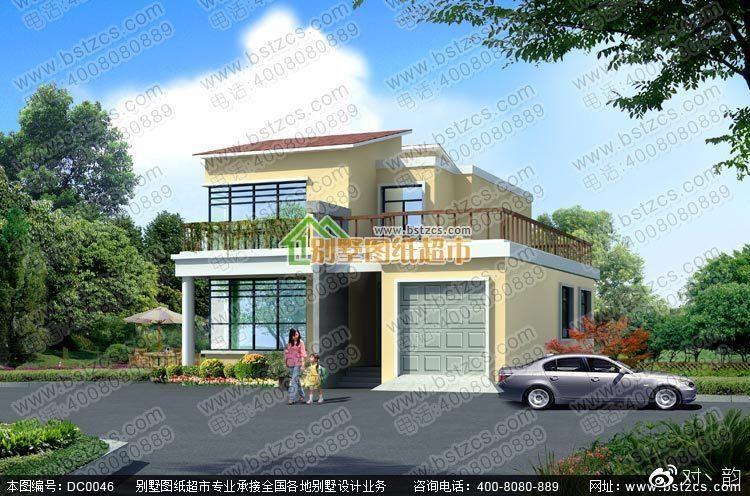 现代二层带车库别墅设计效果图及施工图