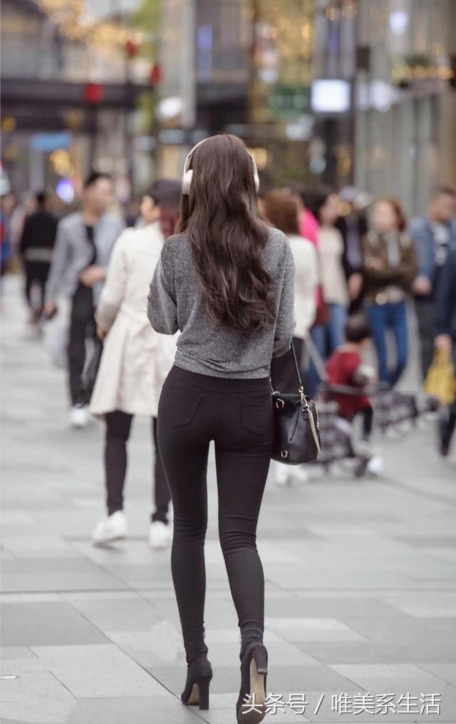 街拍美女黑色裤内裤,紧身苗条性感时尚,美女臀身姿(背影无)图片图片