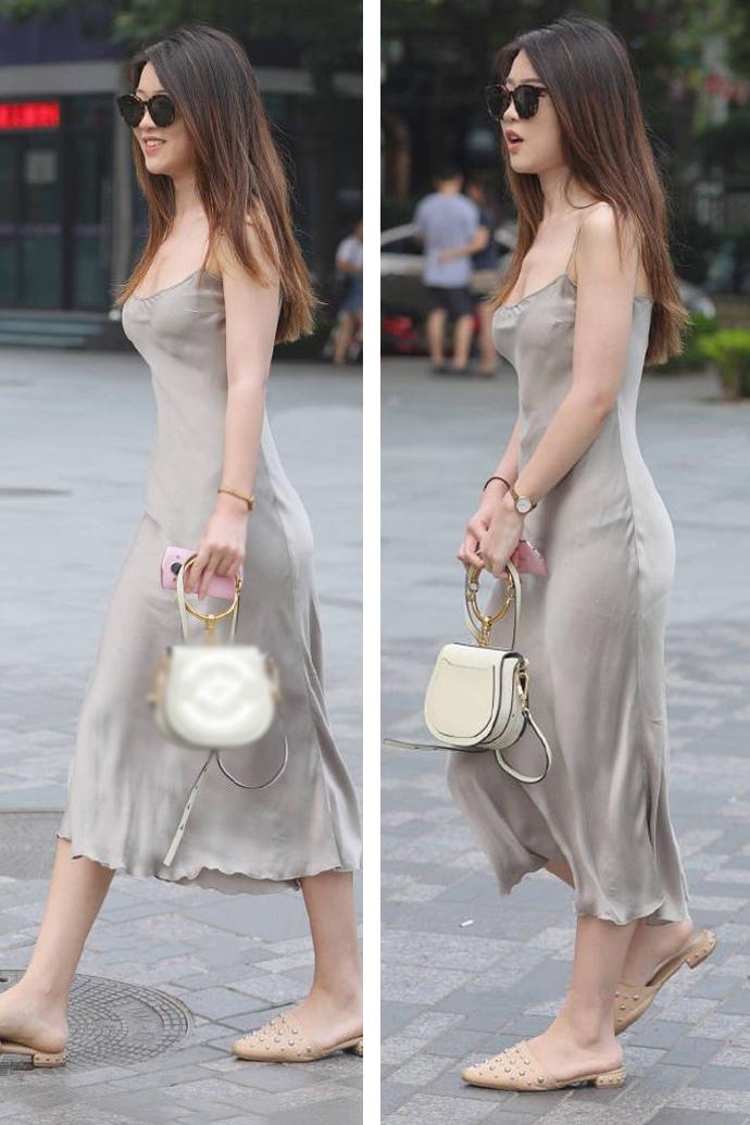 这是穿银白色美女美女的画家连衣裙,丝绸:网友面料四川吊带图片