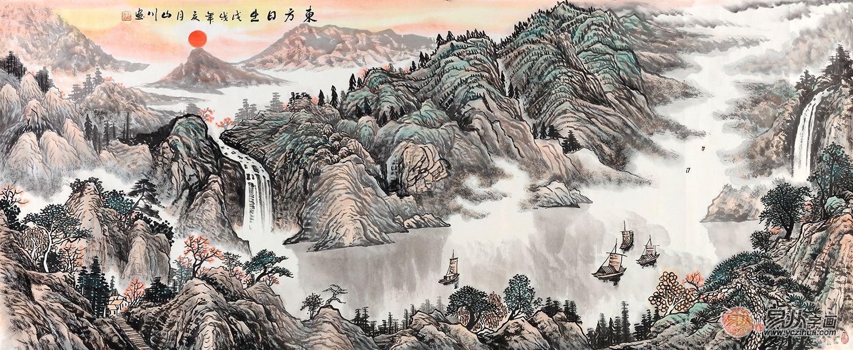画家山川手绘国画作品《东方日出》来源:易从网
