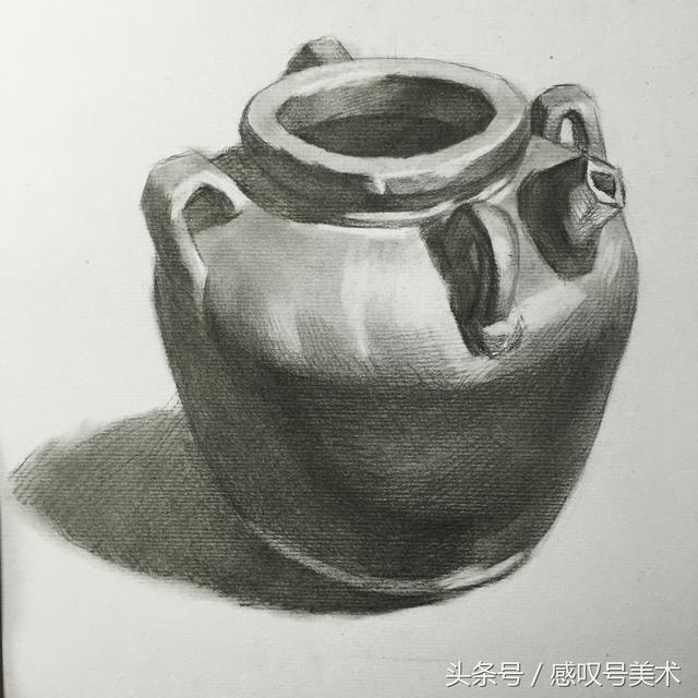 素描绘画入门静物单体陶罐,掌握分体面的绘画方法