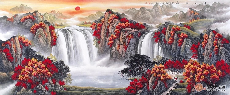 酒店大厅装饰画推荐一刘燕姣最新力作山水画作品《万山红遍》