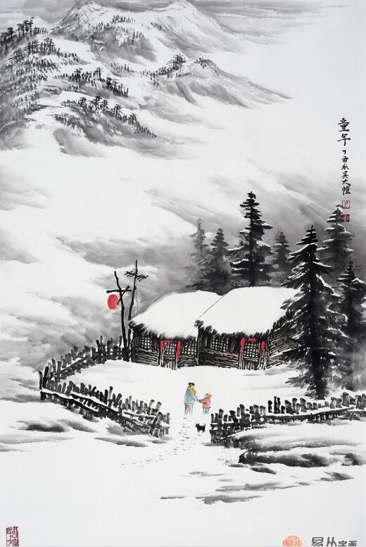 吴大恺最新力作竖幅雪景山水画藏品《童年》作品来源:易从网 江南春图片