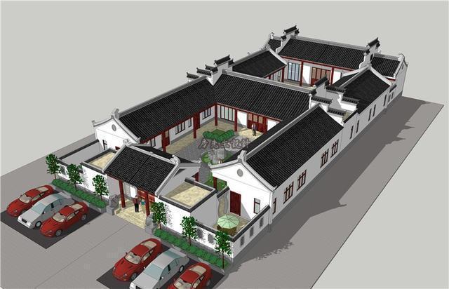 湖南岳阳传统徽式二进式四合院设计效果图欣赏