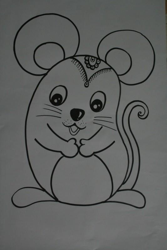 小老鼠,吱吱叫,看到猫儿就跑掉.