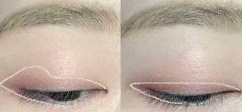 接着,在眼尾和眼角处用同色眼影加重涂抹,再用棕色眼影在睫毛根部轻轻