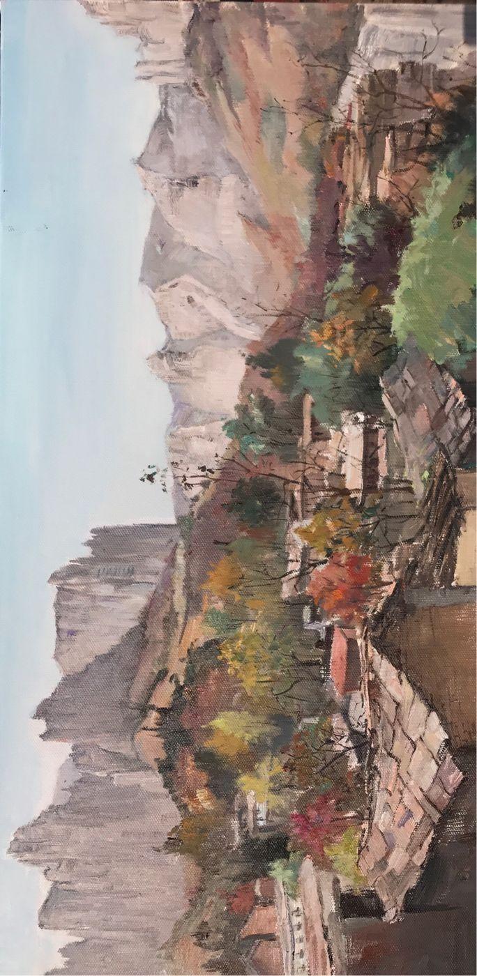 广元籍画家,教授范明亮先生太行大峡谷油画风景写生作品