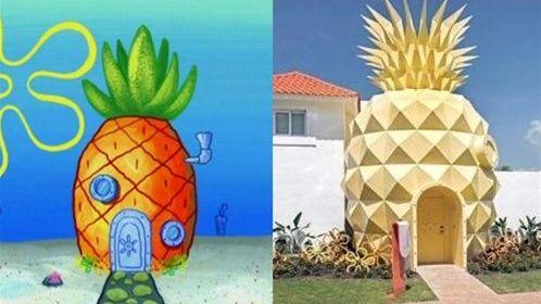 《海绵宝宝》动漫房子与现实房子对比,菠萝屋变成削皮图片