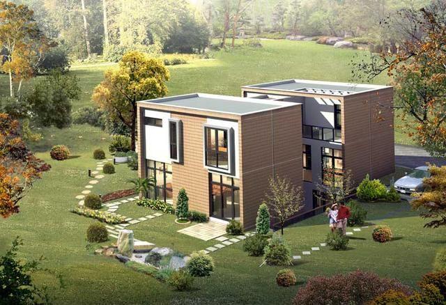 农村双拼别墅设计图,23.8x12.8米,令人羡慕的兄弟房!
