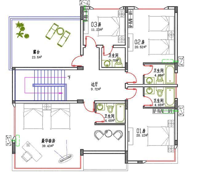 6款二三四层平图纸农村低简单易建实用屋顶自工程方案造价阶段所需图片