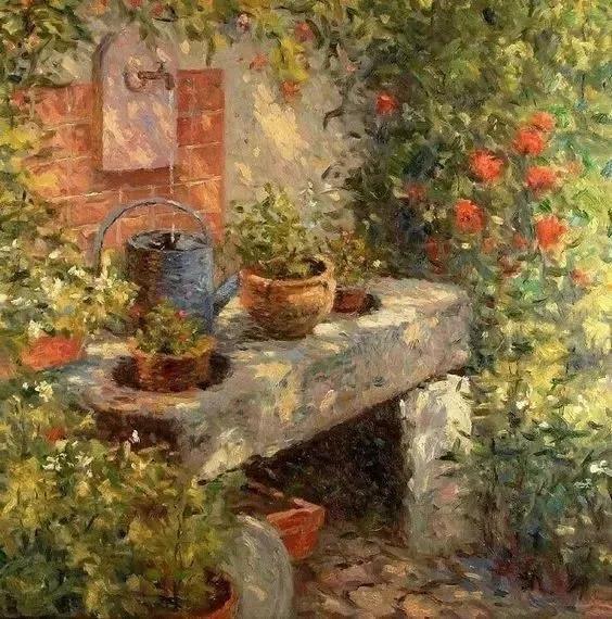 画的实一点 把后面的植物,建筑等画的虚一点 风景油画主要是处理近,中