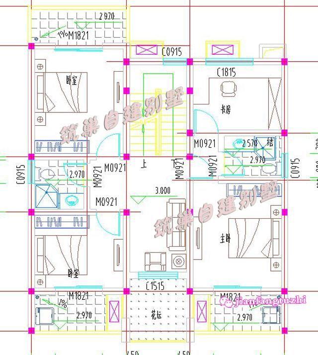 30万9.8x12米三层带农村花园自建月饼设计施里别墅图纸设计的群发图片