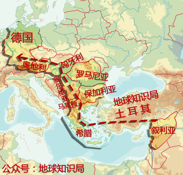 难民逃亡欧洲路线图