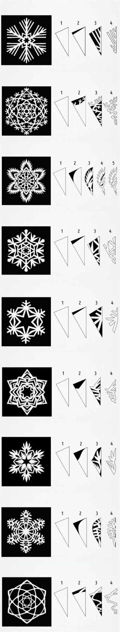 剪刀,铅笔,橡皮,彩纸 步骤: 首先是雪花纸的折法,雪花是六边形的,所以