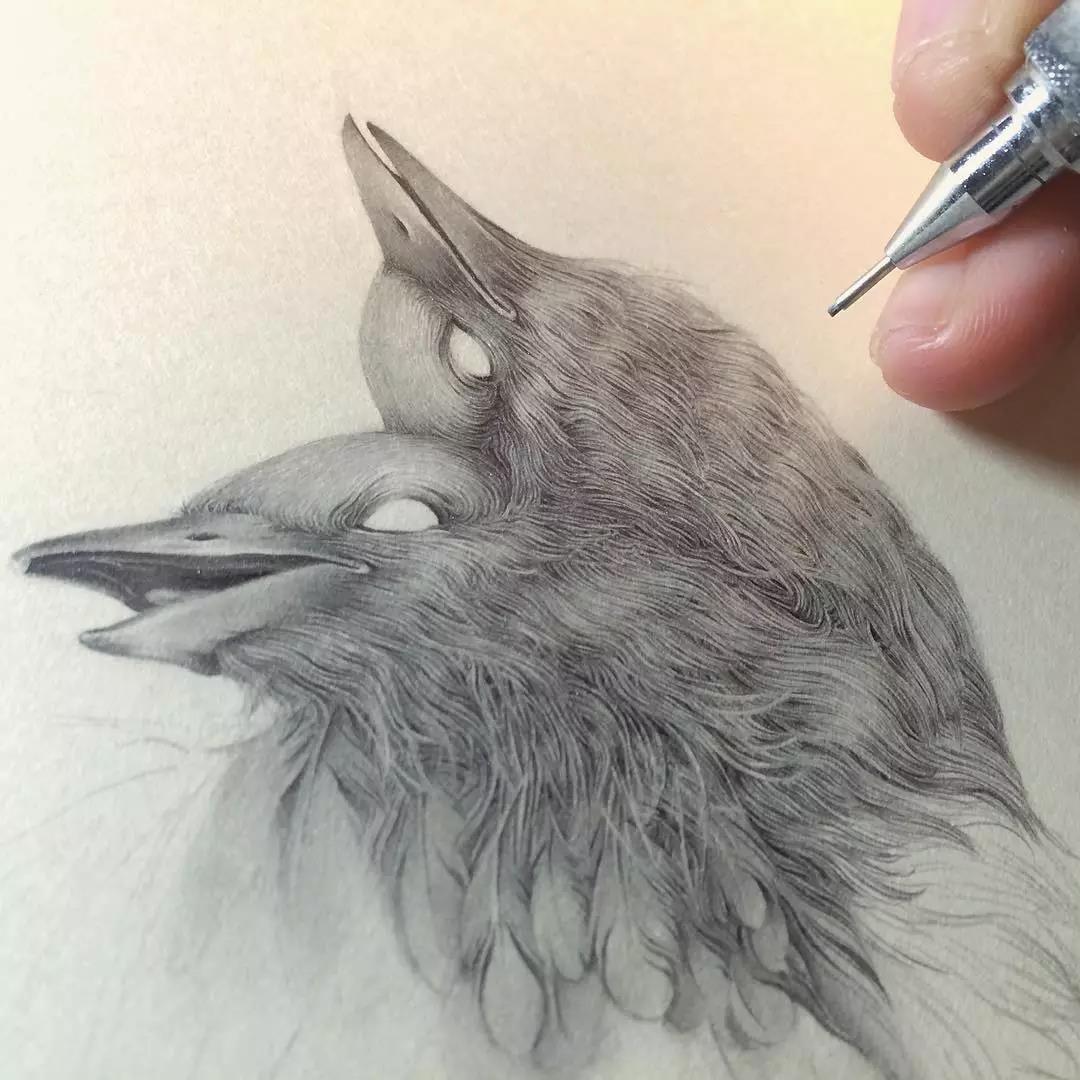 16岁的她自学画画,创作了一系列铅笔精微素描
