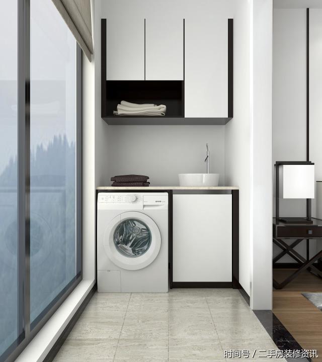 设计了实用的洗手台,洗衣晒衣动线更加合理,让阳台兼具了部分洗衣房的图片