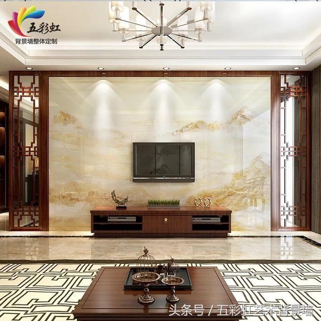 6,新中式花格边框搭配微晶石电视背景墙整体装修效果图图片