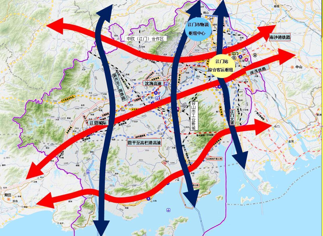 大交通将拓展江门产业空间 江门东联广佛都市圈,深港澳经济圈两大