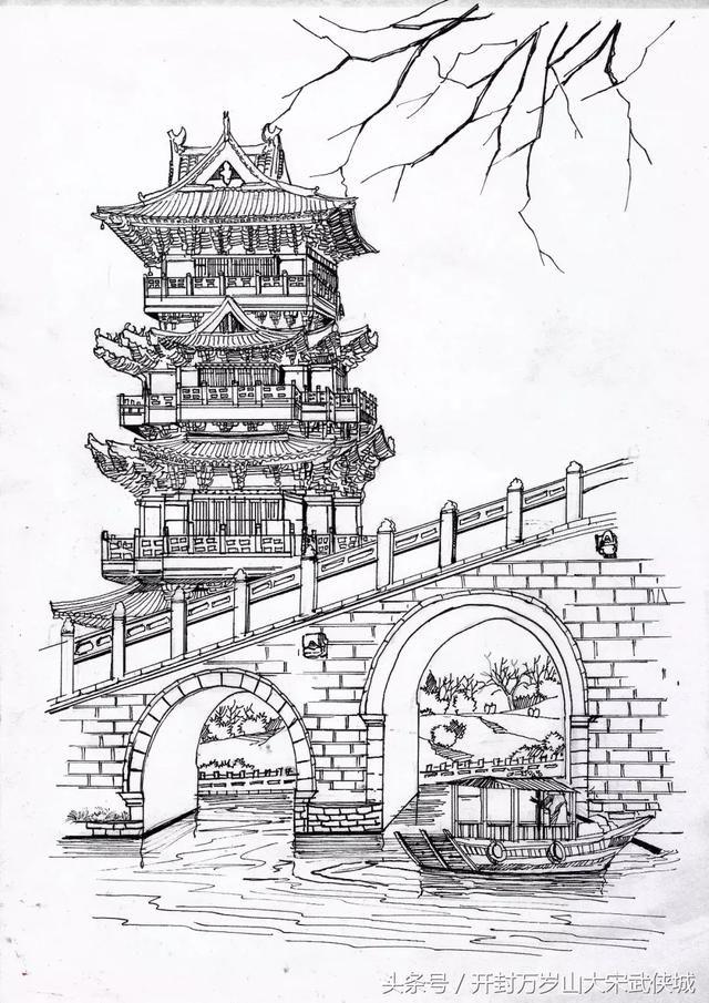 北京大学门口简笔画