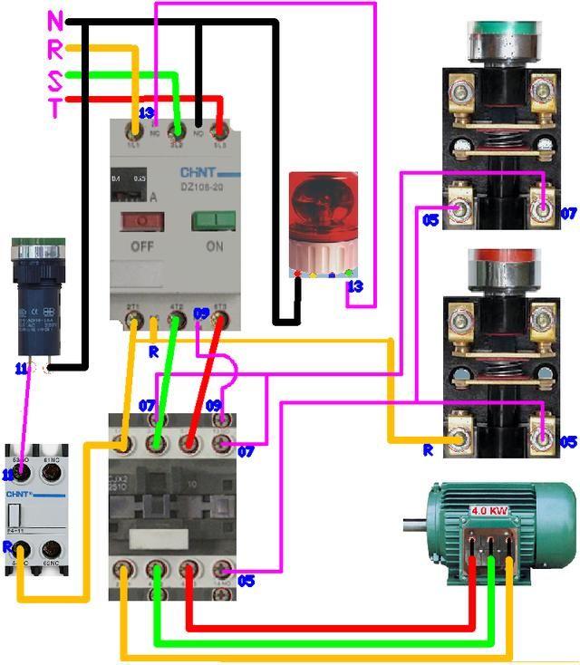 讲解非常详细的接触器自锁的电气原理图及实物接线图