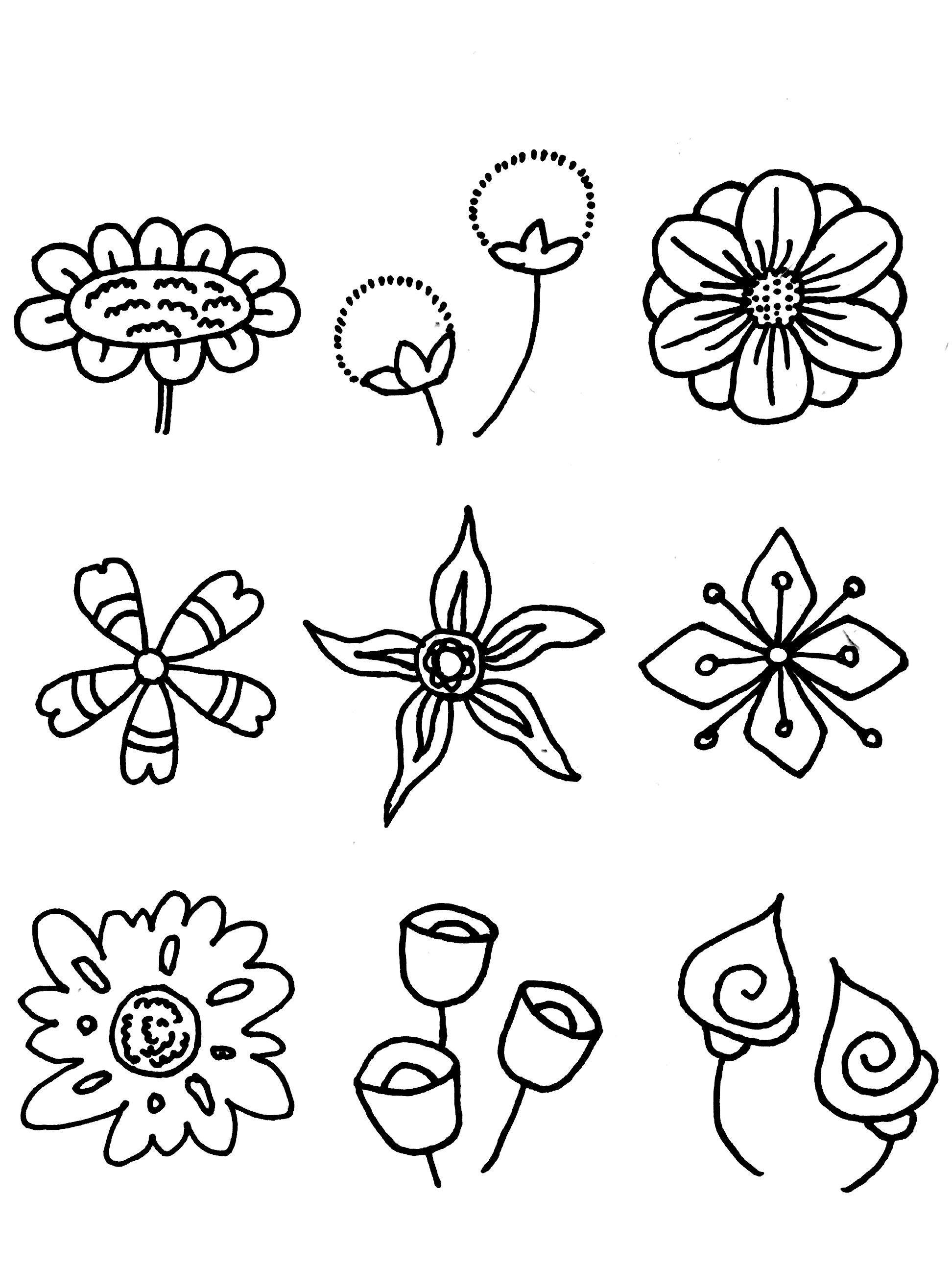 分享50种各类花朵的线描简笔画,值得收藏!