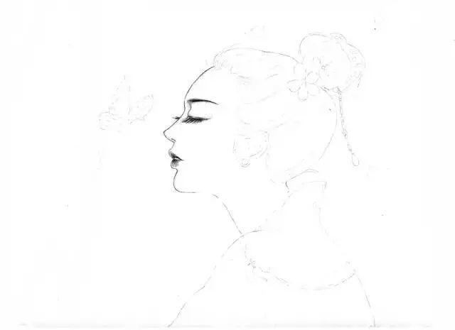素描插画-古风美人素描教程