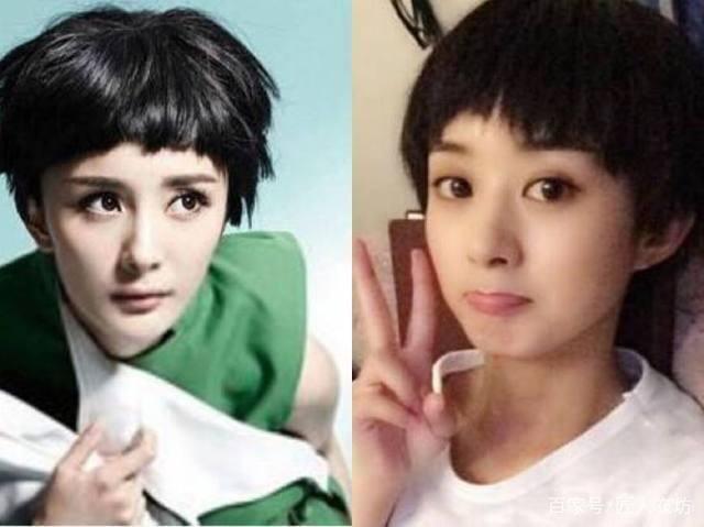 31岁的杨幂和30岁的赵丽颖同造型短发,发型:没中短发网友明星图片图片
