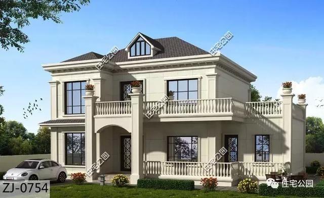 15x10米简欧式农村别墅,坡屋顶老虎窗,超大露台生活很