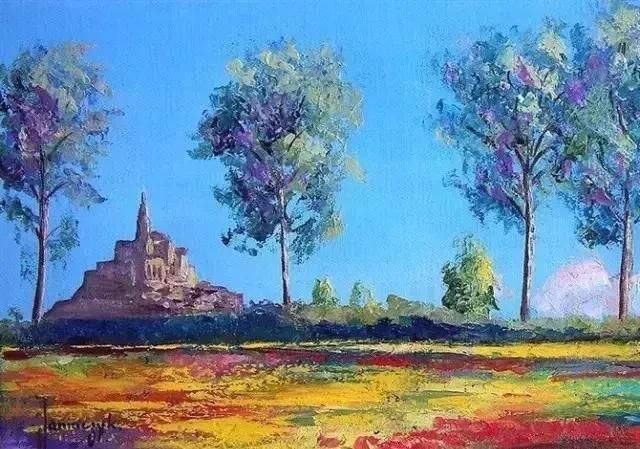 色彩绚丽的风景油画