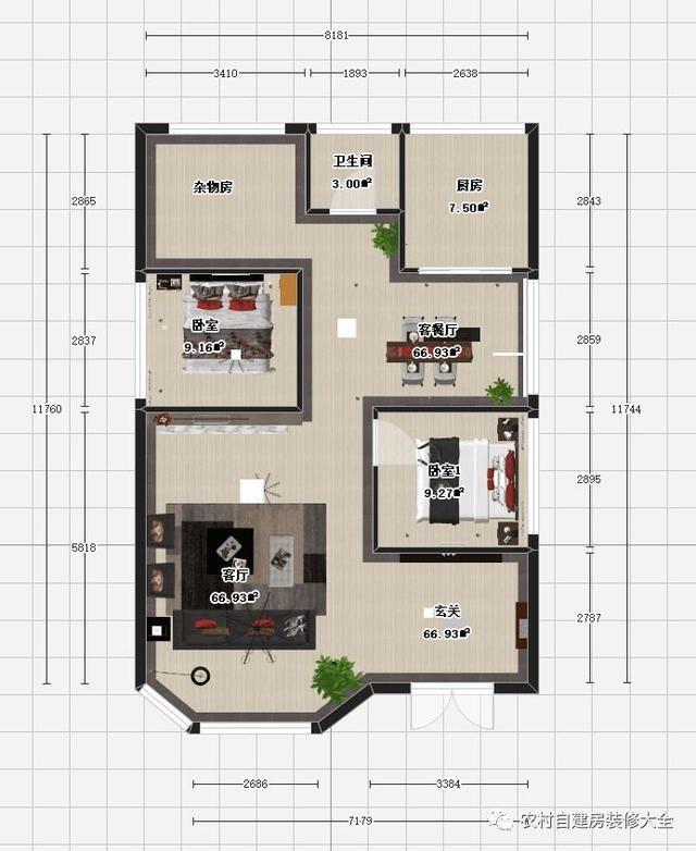 1x11.7米农村自建房别墅设计带室内装修