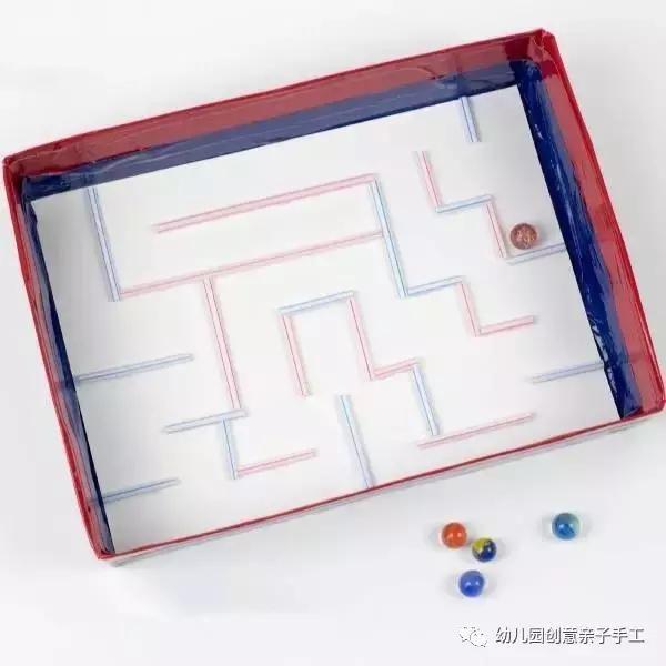 幼儿园玩教具手工创意:盒子+吸管,陪娃自制迷宫,太会玩了!