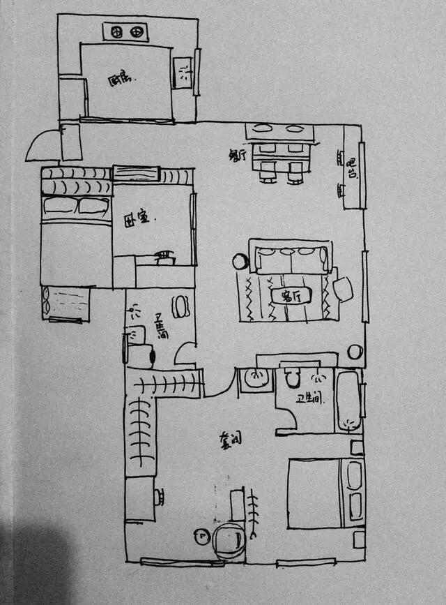屋主手绘的平面图.