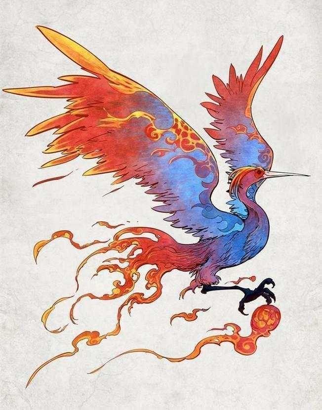 毕方长得像是丹顶鹤,但是只有一条腿,身体为青色,嘴巴为白色.