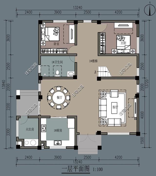13x13米農村別墅,柴火灶現代雙廚房設計,理想農村生活